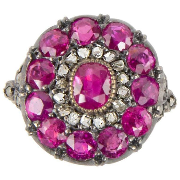 Beautiful Ruby Rose Cut Diamond Cluster Ring