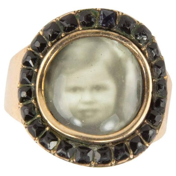Antique Belle Époque Miniature Portrait Jet Gold Mourning Ring
