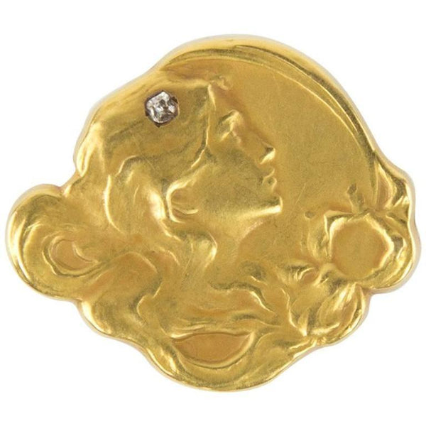 Art Nouveau Diamond Matte Gold Profile of a Maiden Brooch Pin Watch Holder