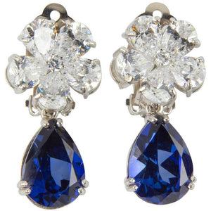 Amazing Faux Diamond Sapphire Drop Clip Statement Earrings
