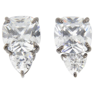 Striking Faux Trillion and Cushion Diamond Stud Statement Clip Earrings