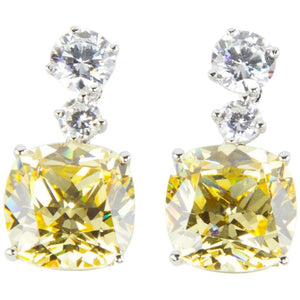 Faux Yellow Diamond Drop Statement Earrings