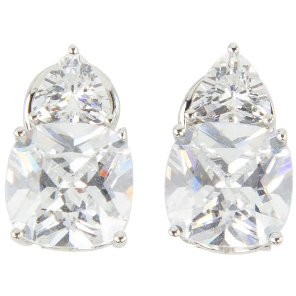 Trillion and Cushion Cut Faux Diamond Statement Earrings