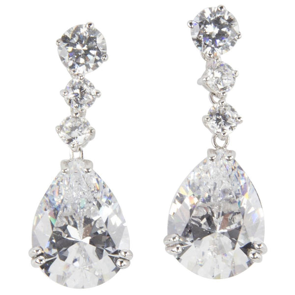 Stunning Faux Diamond and Teardrop Faux Diamond Drop Statement Earrings