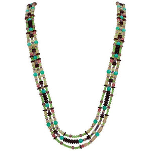 Striking Long Multi Strand Patchwork Runway Necklace