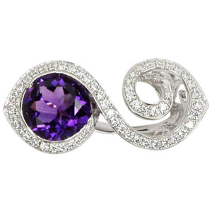 Toi et Moi Bypass Amethyst CZ Sterling Silver Rhodium Crossover Ring