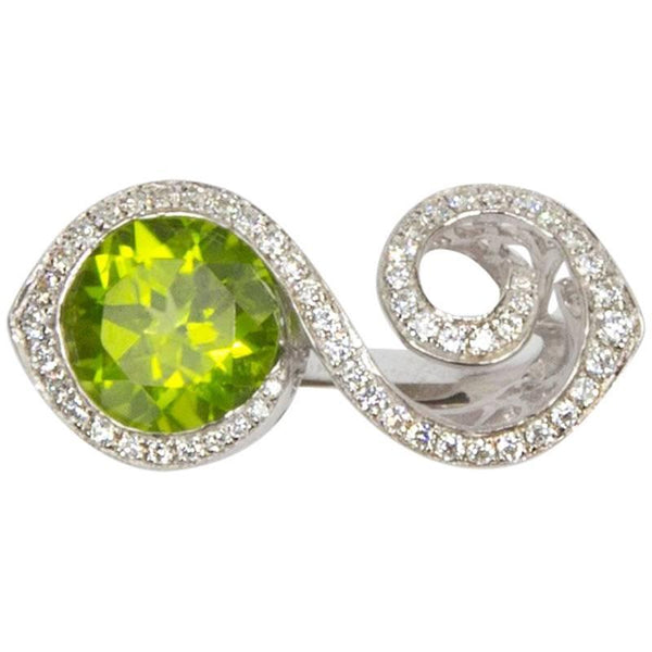 Toi et Moi Crossover Bypass Peridot CZ Sterling Silver Rhodium Crossover Ring