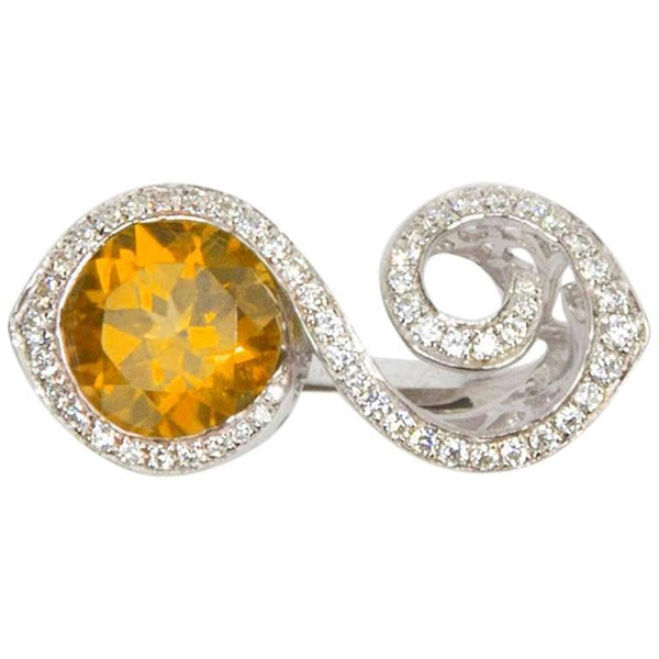 Toi et Moi Bypass Citrine CZ Sterling Silver Rhodium Runway Ring
