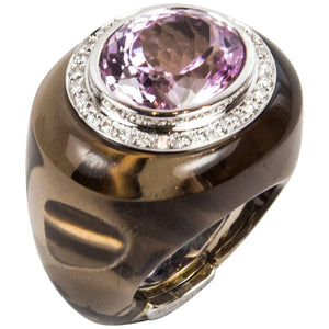 12.0 Carat Kunzite Smoky Quartz Diamond Gold Ring
