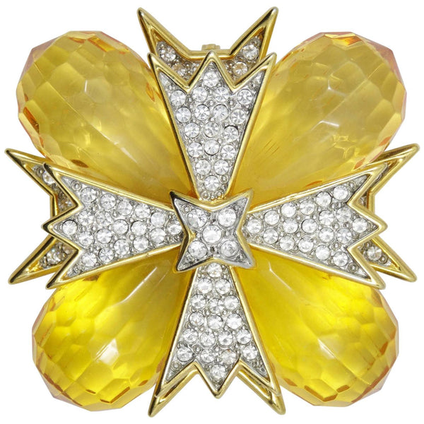 Kenneth Lane KJL Topaz Maltese Cross Runway Brooch Pin Pendant