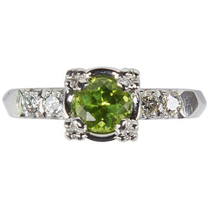Green Tourmaline and Diamond Platinum Engagement Ring