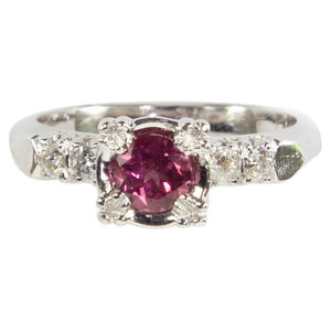 Pink Tourmaline and Diamond Platinum Solitaire Engagement Ring