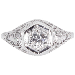 Art Deco 0.45 Carat Diamond Filigree Platinum Solitaire Engagement Ring
