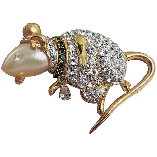KJL Kenneth Jay Lane Faux Pearl and Faux Diamond Mouse Brooch Pin