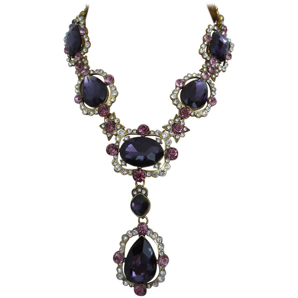 Outstanding Oscar De La Renta Faux Amethyst Crystal Runway Drop Necklace