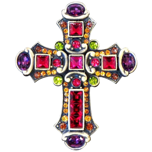 Jay Strongwater Faux Multi Gem Statement Cross Brooch Pin