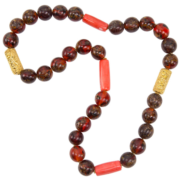 Antique Tibetan Natural Amber Coral and Gold Bead Necklace