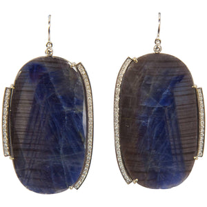 Dynamic Sapphire Slice Diamond Drop Gold Earrings
