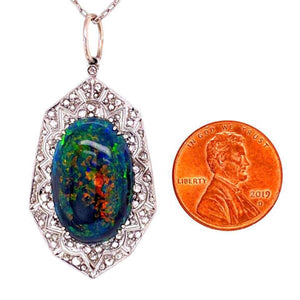 9.28 Carat Black Opal and Diamond Platinum Pendant Necklace Estate Fine Jewelry