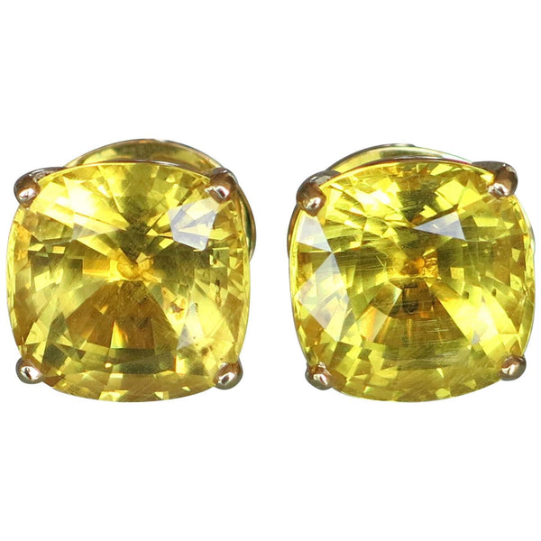 24.67 Carat Natural Vivid Yellow Danburite Gold Stud Statement Earrings