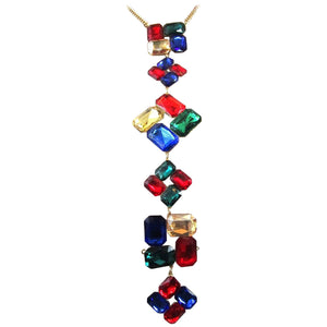 Fabulous Faux Multi Gem Square Cut Statement Drop Necklace