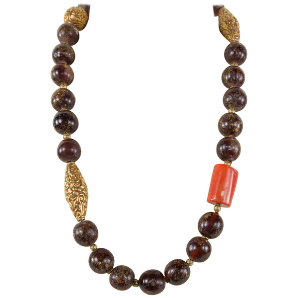 Fabulous Antique Tibetan Natural Amber Coral and Gold Beads Necklace