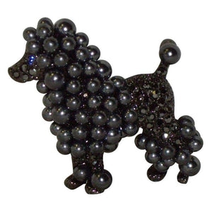Signed KJL Kenneth Jay Lane Prized Poodle Dog Brooch Pin