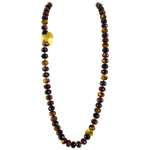 Beautiful Multi Color Tiger Eye Heart of My Heart Statement Necklace
