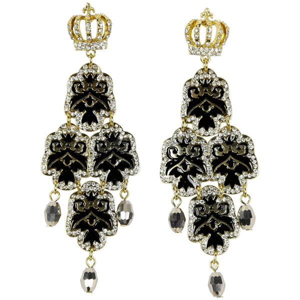 Beautiful Faux Diamond Crown Dangle Runway Earrings