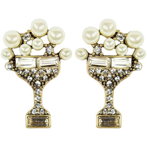 Champagne Faux Pearl Bubbles and Faux Diamond Statement Earrings