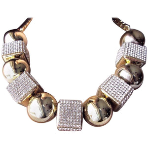 Queen Signed Ball and Sparkling Faux Diamond Cube Designer Runway Necklace