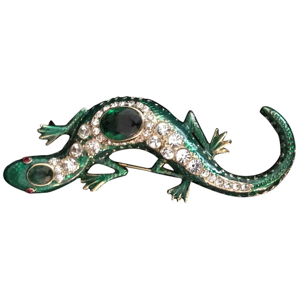 KJL Kenneth Jay Lane Jeweled Enamel Salamander Lizard Runway Brooch Pin