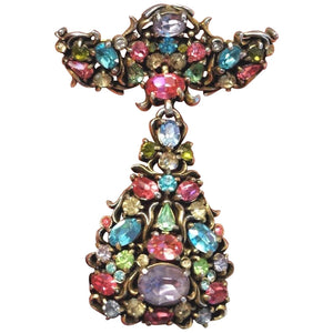 Divine Hollycraft Signed Faux Multi Gem Christmas Angel Dangle Brooch Pin