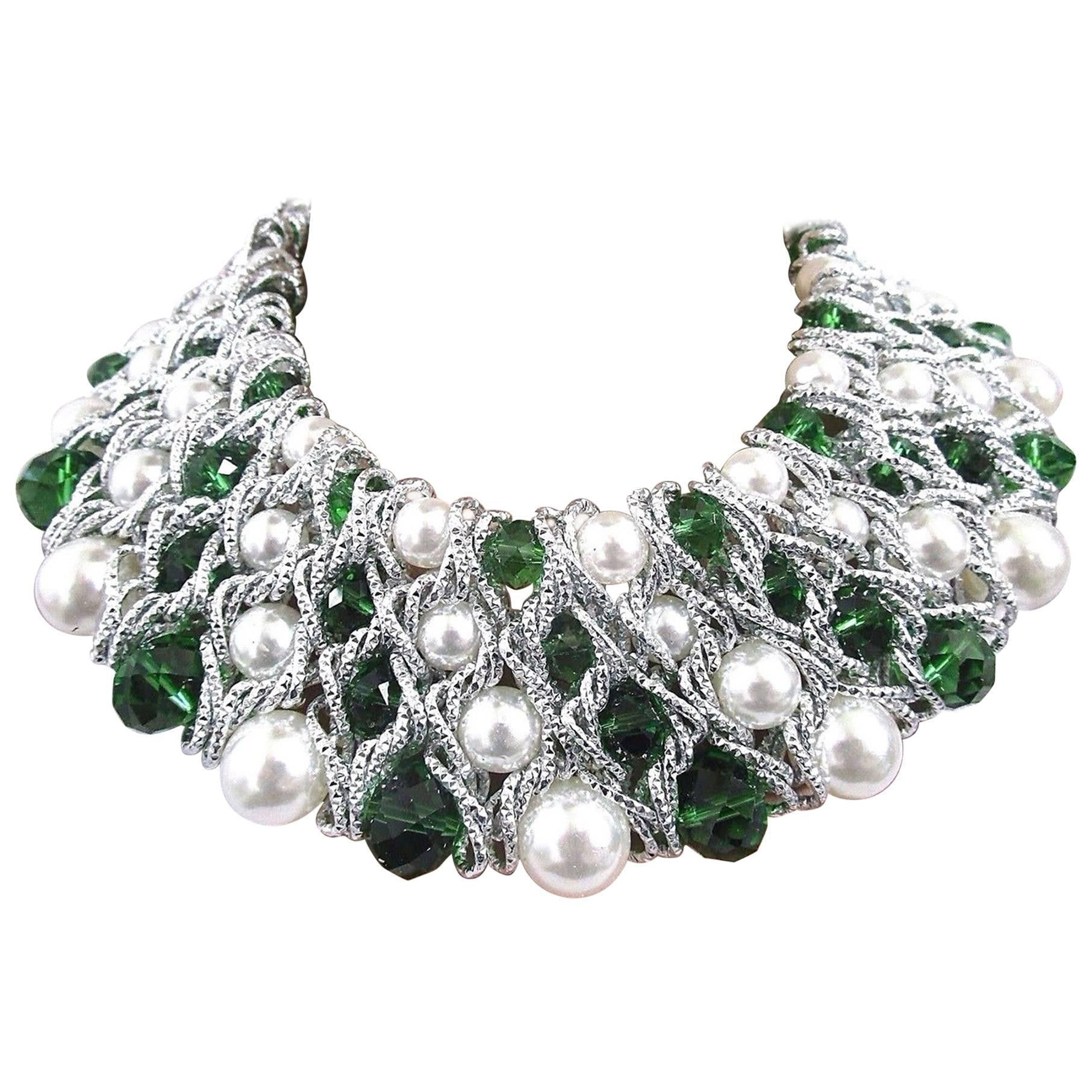 Fabulous Faux Pearl Emerald Green and Clear Crystal Caged Statement Necklace