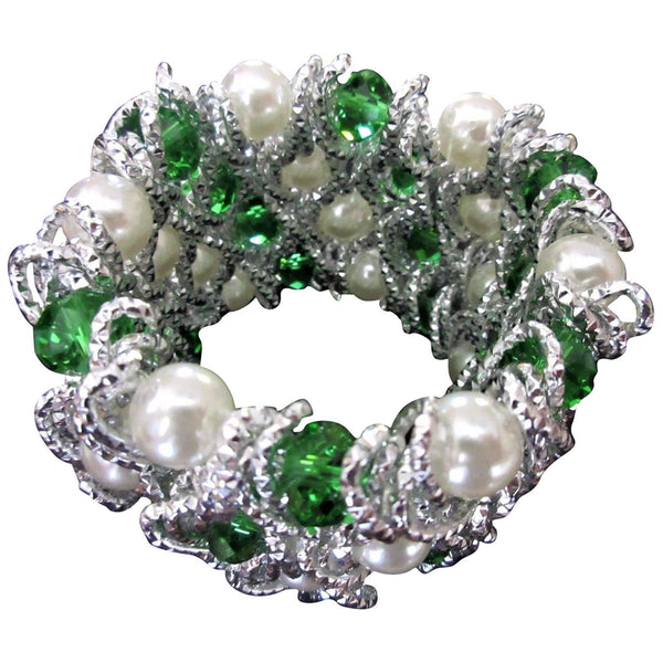 Fabulous Faux Pearl Emerald Green and Clear Crystal Caged Statement Bracelet