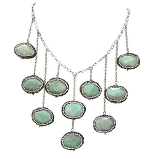 Beautiful Agate Faux Diamond Sterling Silver Statement Necklace
