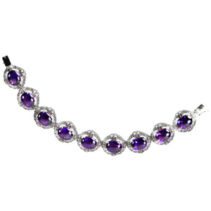 14.22 Carat Amethyst Diamond Ruby Statement Gold Bracelet