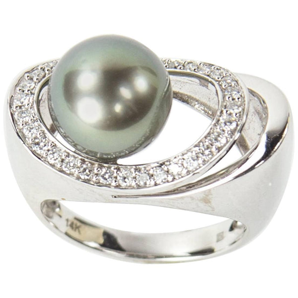 Tahitian Cultured Pearl Diamond Ring
