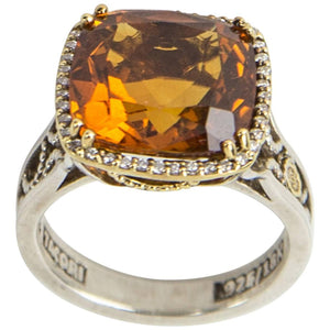 6.15 Carat Citrine Diamond Gold Sterling Silver Tacori Ring