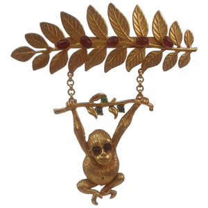 Delightful Askew London Monkey Swinging from a Branch Brooch Pin