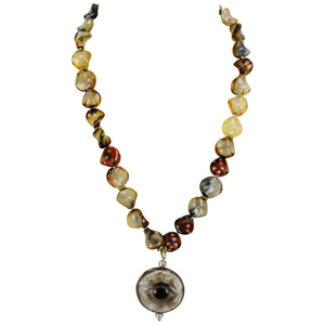 Coach House Carnelian and Evil Eye Statement Pendant Necklace