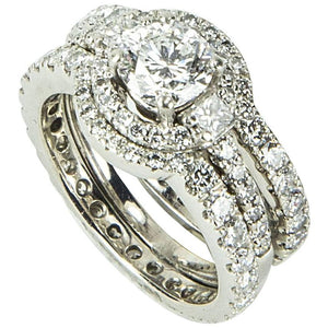 Diamond Platinum Halo Engagement Ring and Two Fitted Platinum Diamond Bands