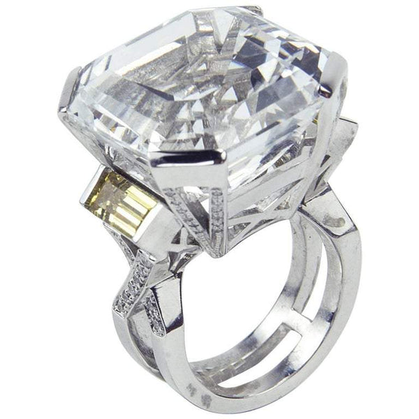 47.40 Carat Asscher Cut White Topaz Diamond Gold Ring