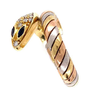 Diamond and Sapphire Gold Snake Serpent Ring Estate Fine Jewelry