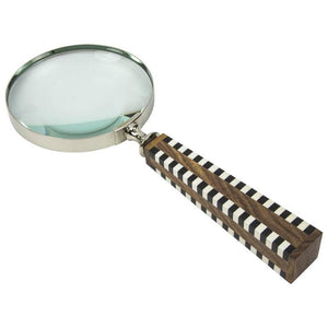 Magnifying Glass Chrome and Celluloid Wood Handle