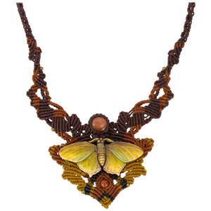 Carved Butterfly on Intricate Hand Knotted Neckpiece Statement Necklace