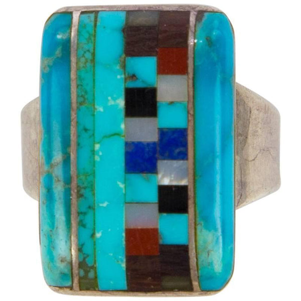 Stunning Navajo Turquoise Multi Stone Inlay Sterling Silver Statement Ring