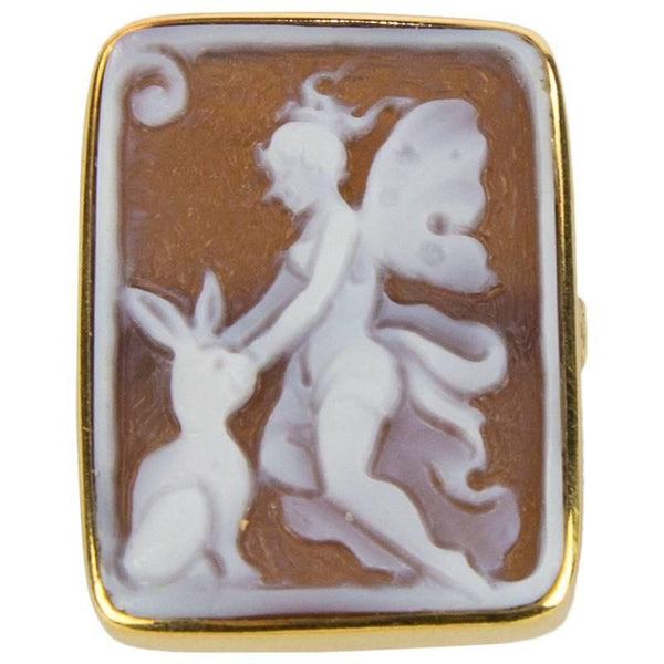 Guardian Angel Cameo Rose Gold Sterling Silver Ring