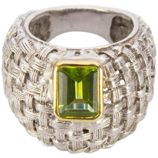 2.10 Carat Peridot Basket Weave Sterling Silver Statement Ring