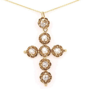 Antique Victorian 1.55 Carat Diamond Cross Gold Necklace Fine Estate Jewelry